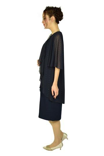 フレア袖ドレープネイビードレス