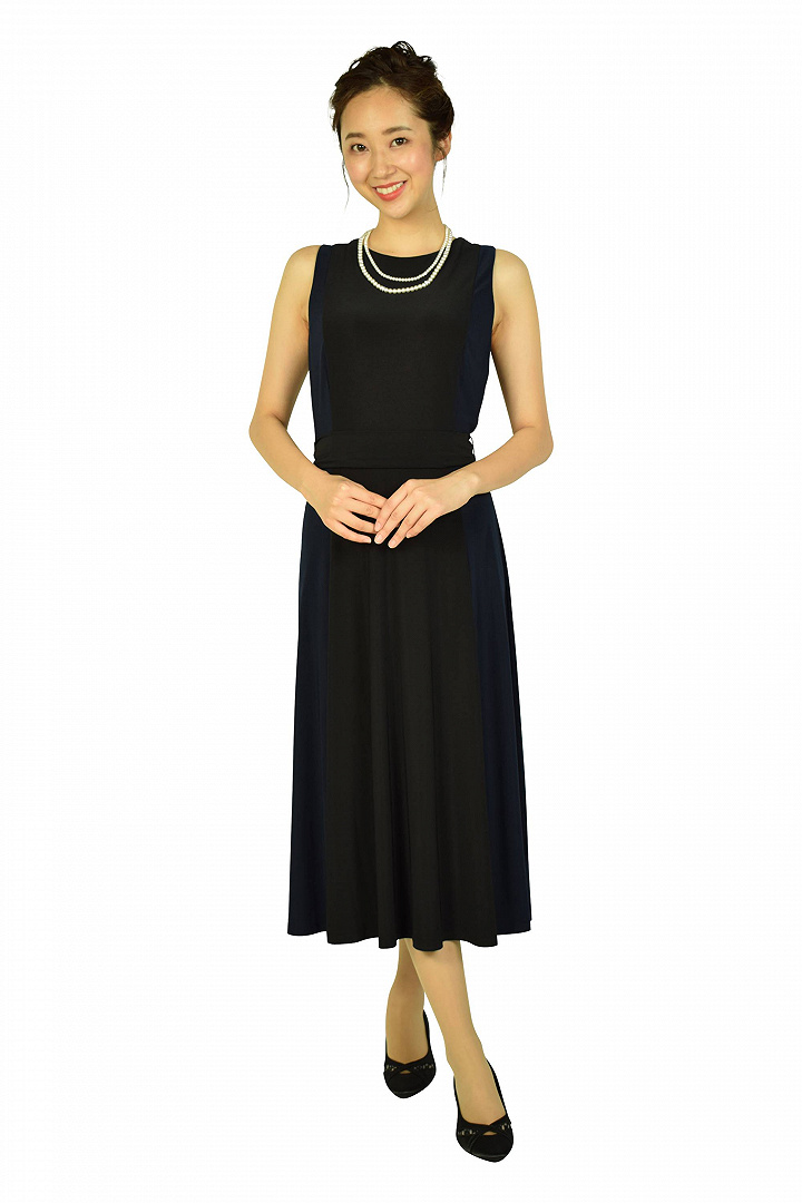 切替デザインブラック×ネイビードレス