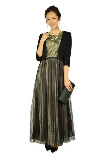 プリーツブラック×ゴールドロングドレス
