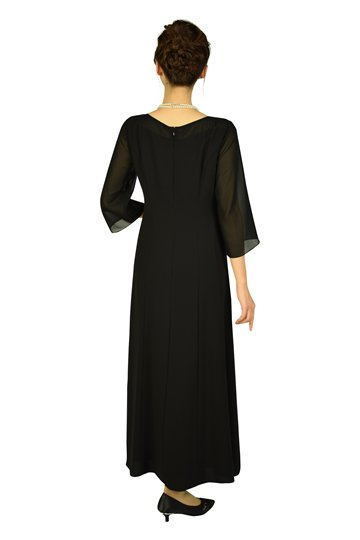袖あり上品ブラックロングドレス