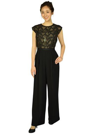 トライアングル刺繍ブラックパンツドレス