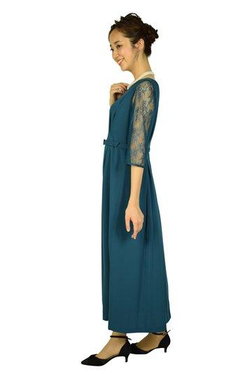 レーススリーブロングブルーグリーンドレス
