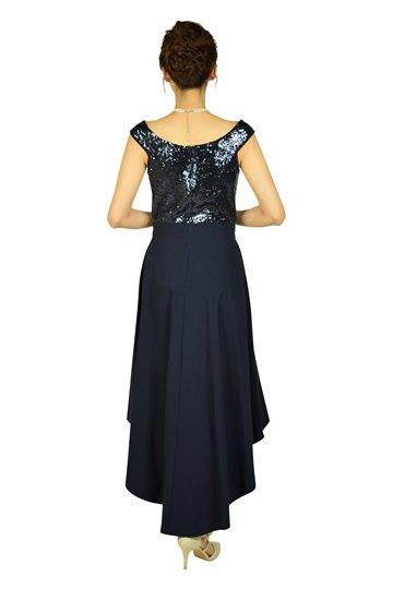 エレガントスパンコールネイビードレス