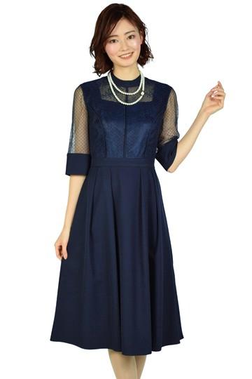 ドット&フラワーレースネイビードレス