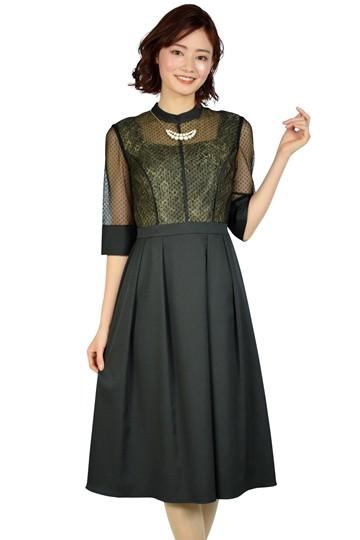 ドット&フラワーレースブラックドレス