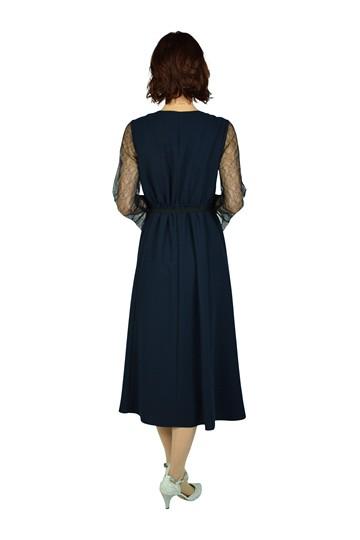 カシュクール&レースロング袖ネイビードレス