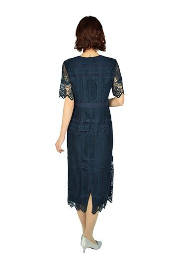 パネル柄レースタイトネイビードレス