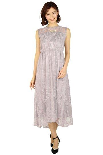 ラメチュールレースモーブピンクドレス