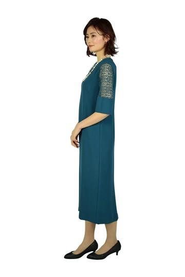 リーフレーススリーブブルーグリーンドレス