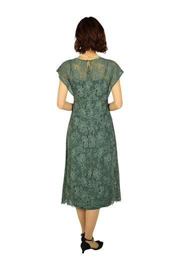 総レースターコイズグリーンカラードレス