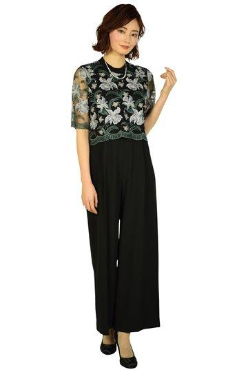 フラワー刺繍ブラックサロペットパンツドレス