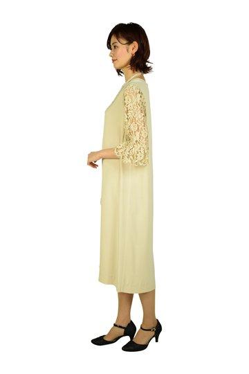 Vネックレーススリーブベージュドレス