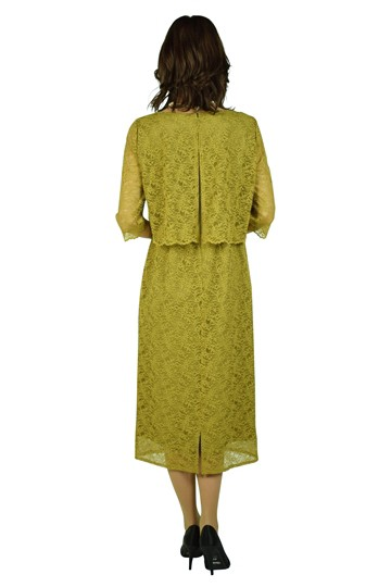 袖付きラッセルレースマスタードドレス