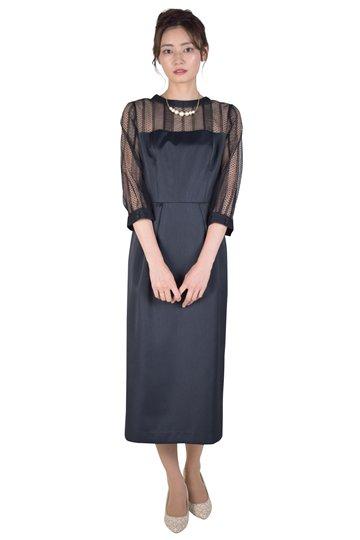 ストライプレースIラインブラックドレス
