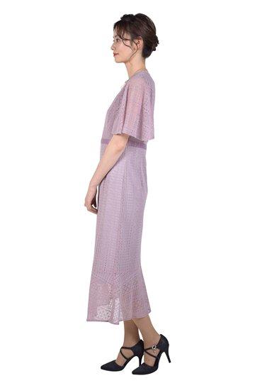 フレアスリーブアッシュピンクドレス