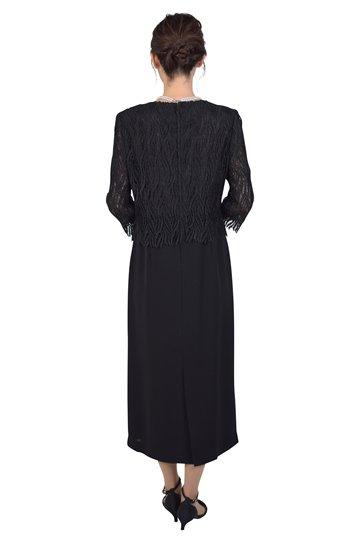 ケミカルレーストップスブラックドレス