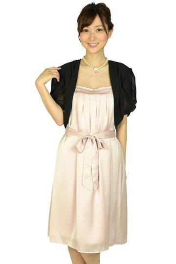 ひざ丈光沢ピンクドレスセット