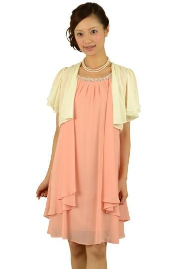 ピンクミニ袖ドレスセット