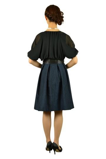 サークル柄刺繍ネイビードレスセット