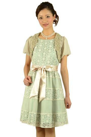 フラワーレースグリーンドレスセット
