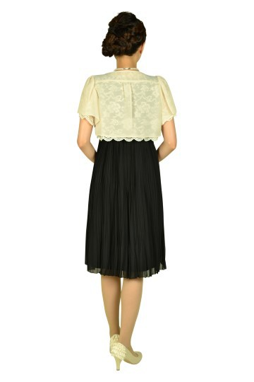 フラワープリーツブラックドレスセット