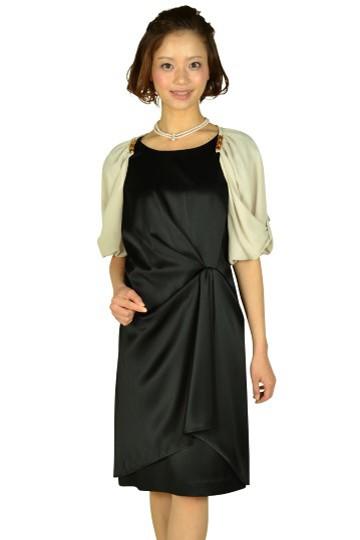 光沢ブラックミニ袖ドレスセット