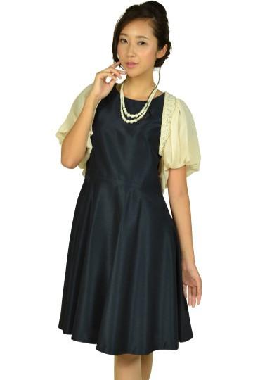 袖付きシンプルネイビードレスセット