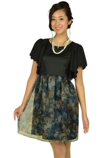 フラワープリントブラックドレスセット