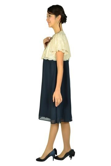 胸元ビジュネイビードレスセット