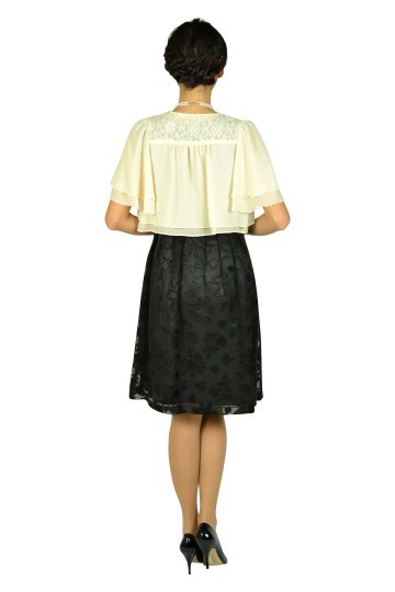 フラワーオーガンジーブラックドレスセット