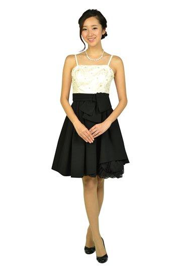 フラワー刺繍オフホワイト×ブラックドレスセット