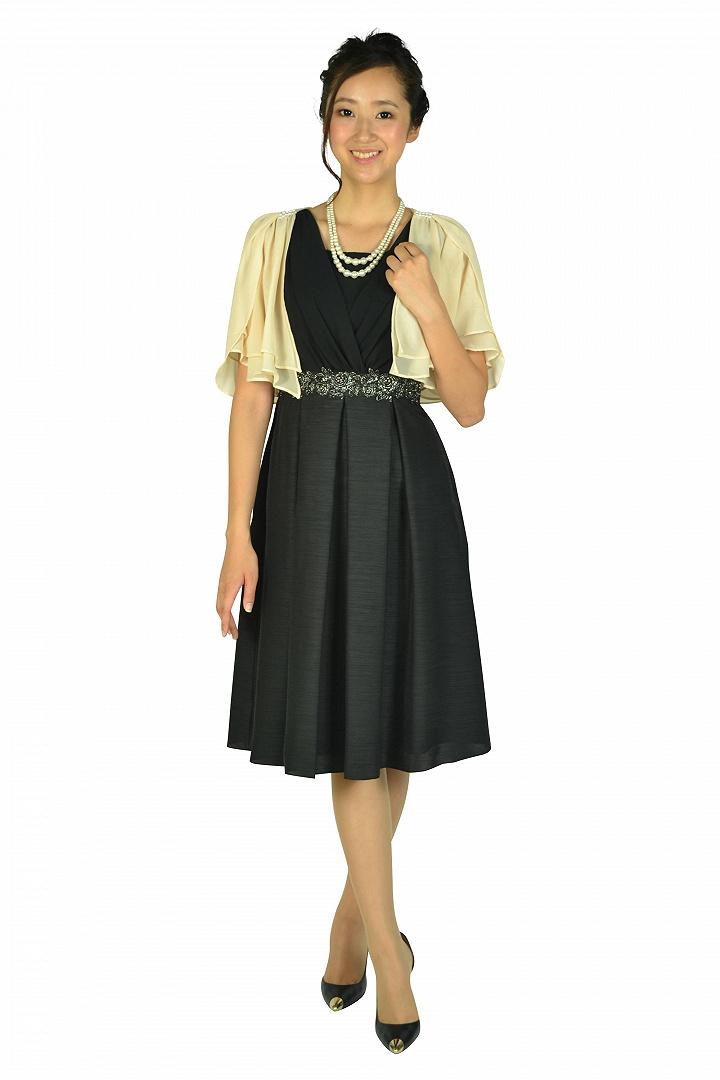 エレガントカシュクールブラックドレスセット