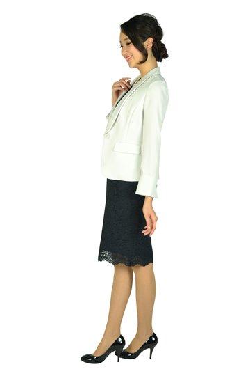シンプルレースVネック濃紺ドレスセット