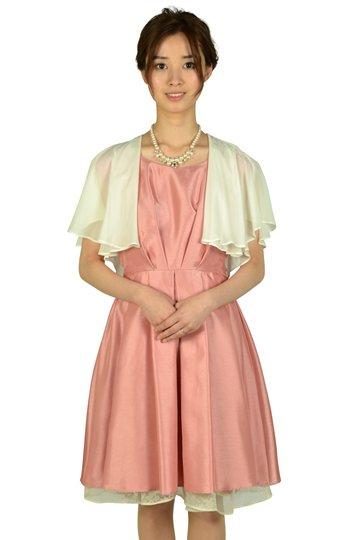 タック&フラワーオーガンジーピンクドレスセット