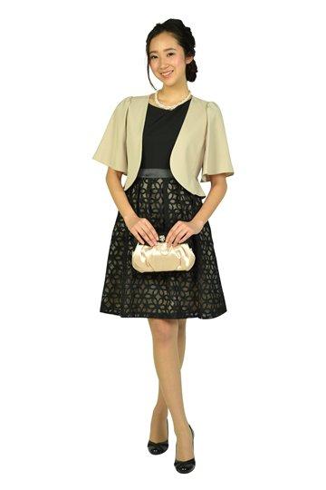 オーガンジーフラワーブラックドレス