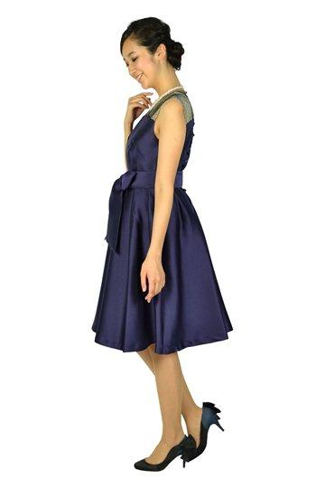 ショルダードット編み上げネイビードレス