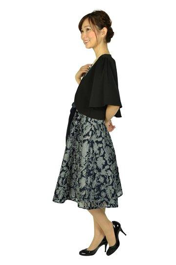 チュール刺繍レースネイビードレスセット