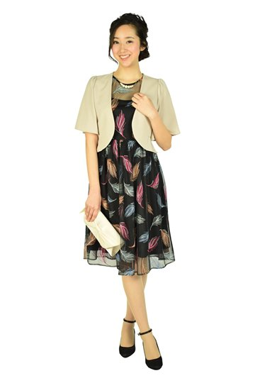 マルチ羽刺繍ブラックドレスセット
