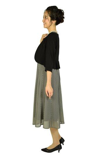 編み込みベージュ×ブラックドレスセット