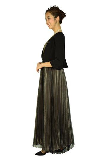 プリーツブラック×ゴールドロングドレスセット