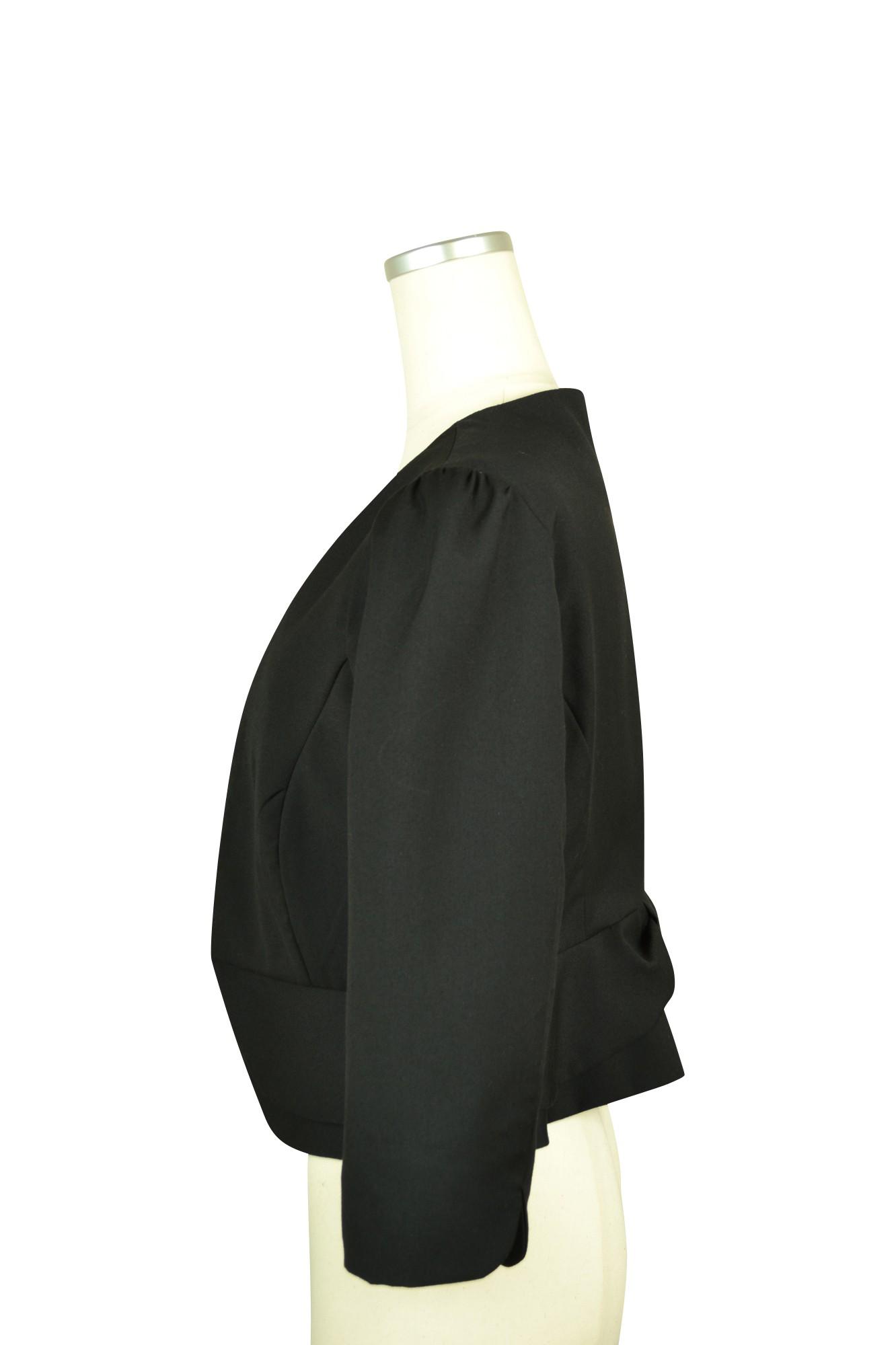 ブラック7分袖ノーカラージャケット