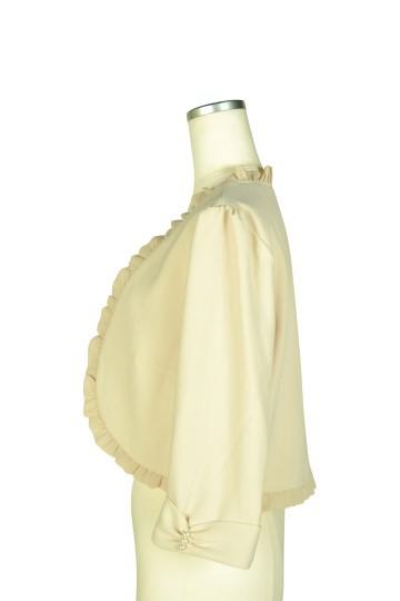 7分袖シャンパンノーカラージャケット