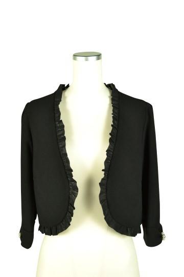 7分袖ブラックノーカラージャケット
