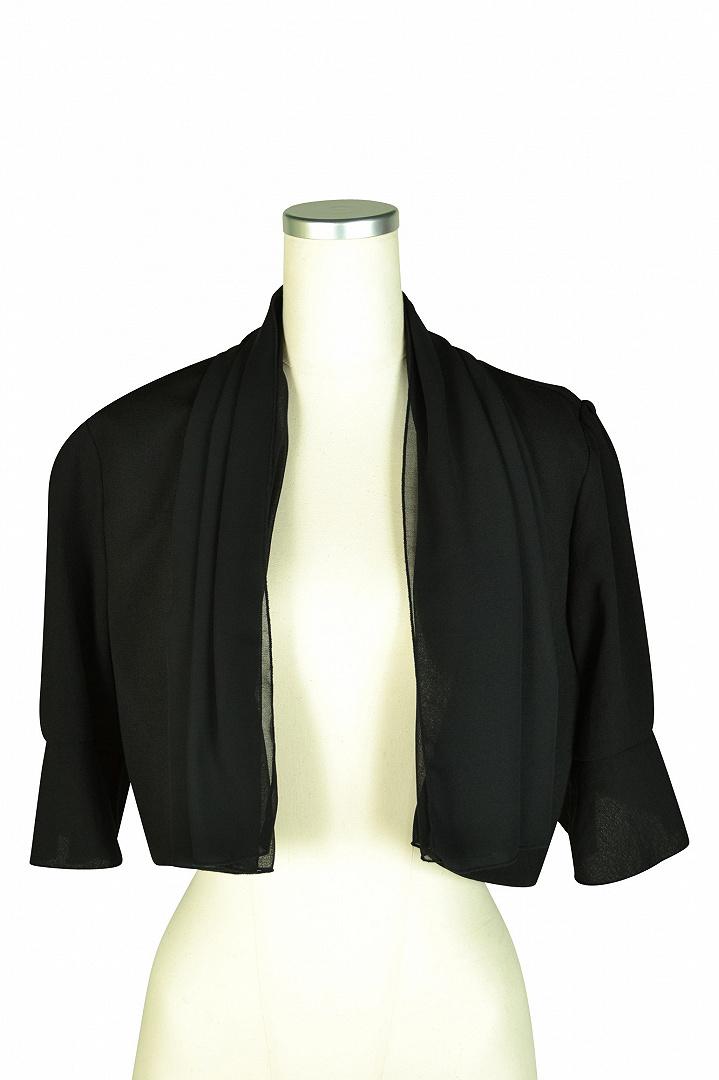 2way襟付き5分袖ブラックボレロ