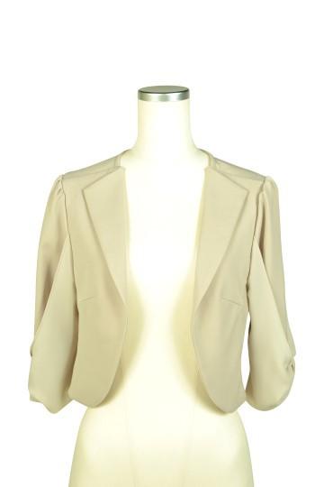 袖リボン5分袖ベージュジャケット