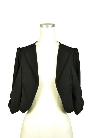 袖リボン5分袖ブラックジャケット