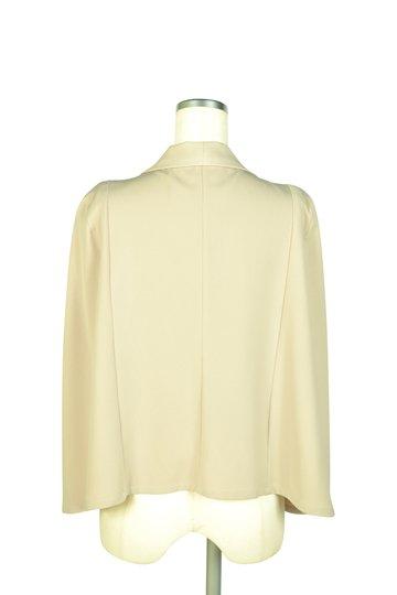 襟付きケープ袖ベージュジャケット