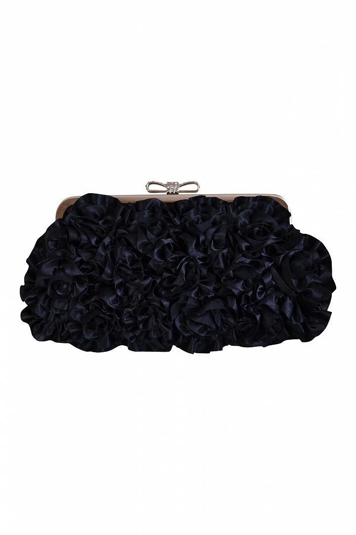 フラワーモチーフブラックバッグ