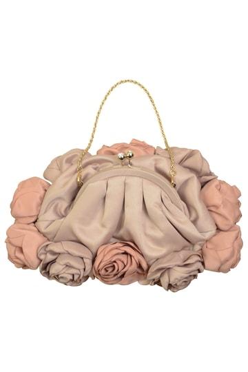 ローズモチーフベージュピンクバッグ