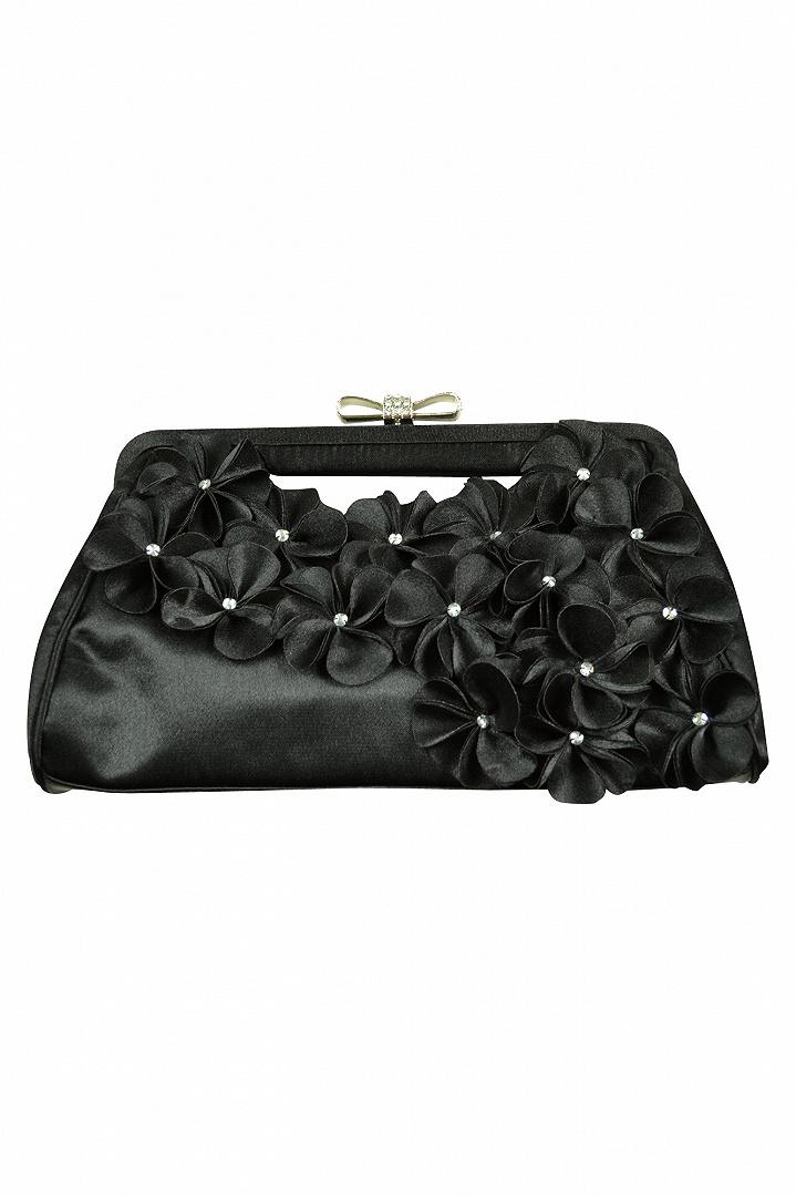 3Dフラワーブラックバッグ